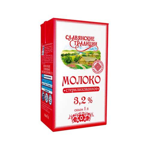 Молоко стерилизованное «Славянские традиции» 3,2% 1 л