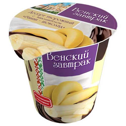 Десерт творожный «Венский завтрак» 4% 150 г с наполнителем «банан-шоколад»