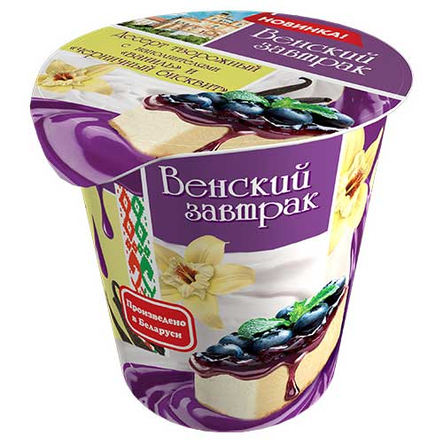 Десерт творожный «Венский завтрак» 4% 150 г с наполнителем черничный бисквит