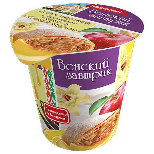 Десерт творожный «Венский завтрак» 4% 150 г с наполнителем яблочный штрудель