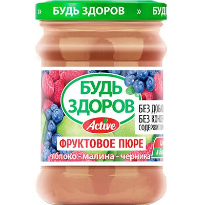Пюре «Будь здоров» яблоко-малина-черника