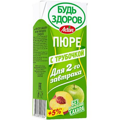 Пюре с трубочкой «Будь здоров» яблоко-персик