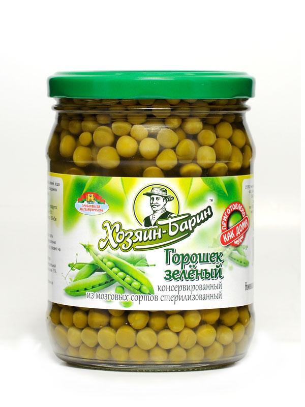 Горошек зелёный консервированный стерилизованный Хозяин-Барин